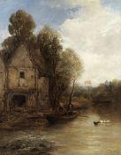 James Webb (British, 1825-1895) A waterside mill