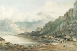 John Varley OWS (London 1778-1842) Snowdon from Llyn Dinas