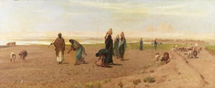 Frederick Goodall, RA (British, 1822-1904) The Sheik's daughter sowing the Dourah