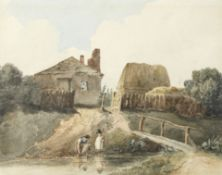 David Cox Snr. O.W.S. (British, 1783-1859) A bridge by a cottage with a woman and child collectin...