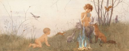 Margaret Tarrant (British, 1888-1959) Pan playing to children and woodland creatures; a pair each...