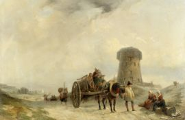Clarkson Stanfield, R.A. (British, 1793-1867) Horse and cart passing figures on a country road