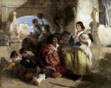 John Phillip RA HRSA (British, 1817-1867) Spanish peasants at the well