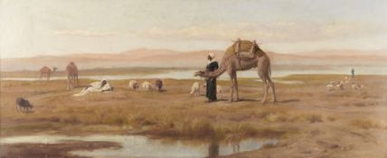 Frederick Goodall, RA (British, 1822-1904) Bedouins and their flock