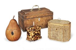 A George III scrolled paper and satinwood tea caddy together with a fruitwood pear shaped tea cad...
