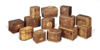 A large collection of thirteen late 18th and 19th century tea caddies