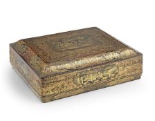 A Chinese export lacquer games box and a Chinese export lacquer tea caddy 19th century (qty)