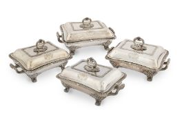 A set of four George IV silver entrée dishes and Old Sheffield plate stands Richard Sibley, Londo...