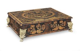 A William & Mary oyster veneered, fruitwood, walnut and marquetry lace box
