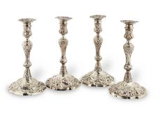A set of four George II cast silver candlesticks John Cafe, London 1753 (4)