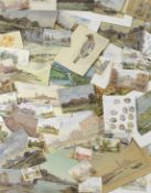 A folio of mixed media artworks and skecthbooks, the work of John Weston Gough. Together with the...