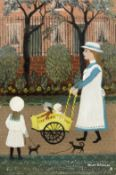 Helen Bradley (British, 1900-1979) A Family Walk 26.5 x 18 cm. (10 3/8 x 7 1/8 in.)