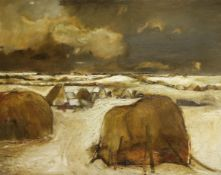 Sheila Fell R.A. (British, 1931-1979) Haystacks in Winter 101.7 x 127 cm. (40 x 50 in.) (Painted ...