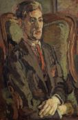 Duncan Grant (British, 1885-1978) Portrait of Peter Morris Seated in a Wing Chair 76.2 x 50.8 cm....