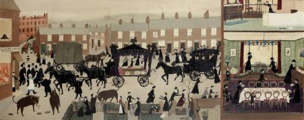 Helen Bradley (British, 1900-1979) Uncle Tom's Funeral Procession 60.3 x 151.5 cm. (23 3/4 x 59 5...
