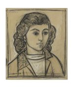 John Craxton R.A. (British, 1922-2009) A Greek Girl 43.7 x 37.5 cm. (17 1/4 x 14 3/4 in.)