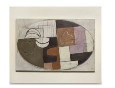 Victor Pasmore R.A. (British, 1908-1998) Abstract in Brown, White, Pink and Ochre 68.1 x 83.8 cm....