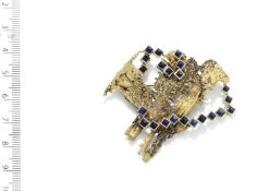 A GOLD AND LAPIS LAZULI 'BARK' BROOCH, BY GRIMA, 1967
