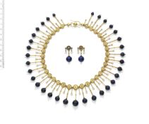 A 19TH CENTURY LAPIS LAZULI AND SEED PEARL FRINGE NECKLACE (2)