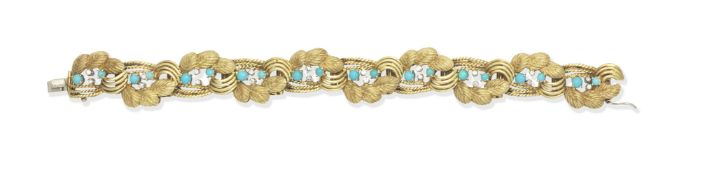 Turquoise and diamond bracelet, circa 1960