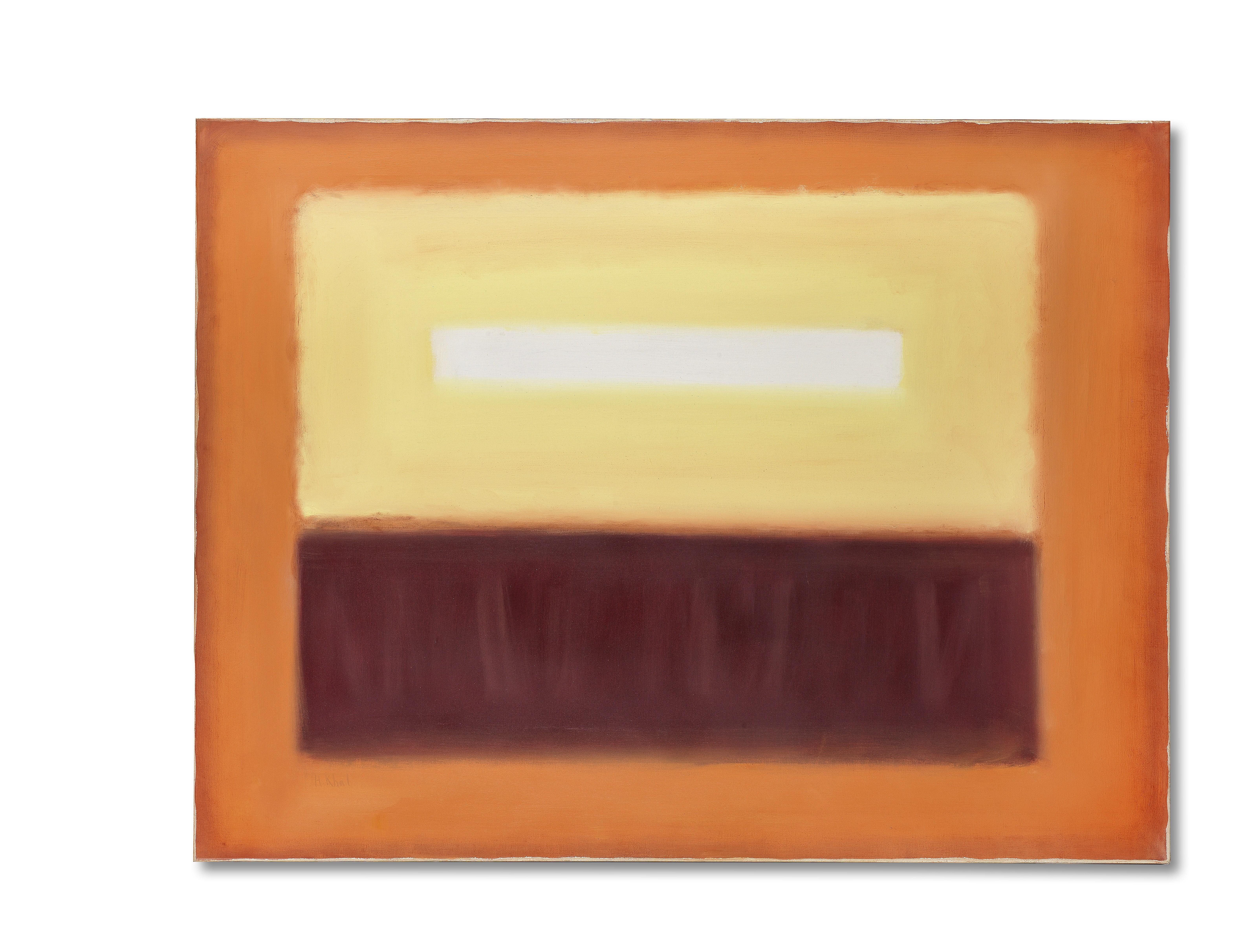 Helen Khal (Lebanon, 1923-2009) Yellow on Burnt Orange