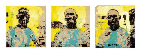 Armand Boua (Ivorian, born 1978) A triptych 74 x 70cm (29 1/8 x 27 9/16in) each. unframed. ((3))