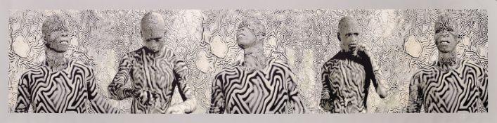 Jean-Pierre Bers 'Grandsinge' (Democratic Republic of Congo, born 1955) 'Cinq Camarades' unstretc...