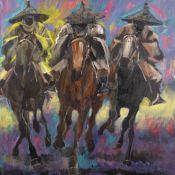 Ato Delaquis (Ghanaian, born 1945) Racing Riders in Conical Hats