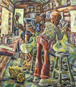 Lovemore Kambudzi (Zimbabwean, born 1978) The barber shop