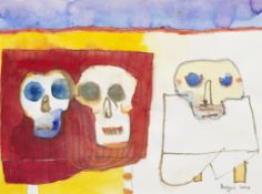 Robert Griffiths Hodgins (South African, 1920-2010) Skulls unframed.