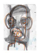 Aboudia Abdoulaye Diarrassouba (Ivorian, born 1983) Head study unframed.