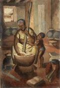 Kofi Antubam (Ghanaian, 1922-1964) Mother and child cooking unframed.