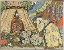 Ivan Ivanovich Bilibin (Russian, 1876-1942) An illustration for Le Coq d'Or, Tsar Dodon meets the...
