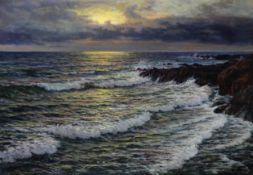 Wartan Mahokian (Armenian, 1869-1937) Sunset over the waves