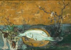Mikhail Fedorovich Larionov (Russian/French, 1881-1964) Still life with fish and flowers