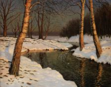 Mikhail Markianovitch Guermacheff (Russian, 1867-1930) Snow on the river-bank