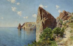 Vasili Yakovlevich Beringer (Russian, 1875-1942) 'Crimea' 77.5 x 121cm (30 1/2 x 47 3/4in).