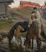 Alexandr Victorovich Moravov (Russian, 1878-1951) 'At the watering place'