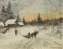 Konstantin Alexeevich Korovin (Russian, 1861-1939) A winter's day