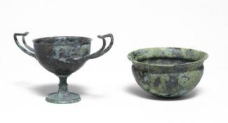 A Greek bronze kantharos and a Greek bronze bowl 2