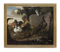 Studio of Melchior de Hondecoeter (Utrecht 1636-1695 Amsterdam) Peacocks, a cockerel, hens and du...