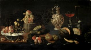 Circle of Juan van der Hamen y León (Madrid 1596-1632) A basket, dish and plates of fruit on a ta...