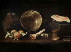School of Seville, circa 1630-1660 Still life with a knife resting on an earthenware jug, a coppe...