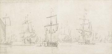 Willem van de Velde the Elder (Leiden 1611-1693 London) The Dutch fleet becalmed with a snow in t...