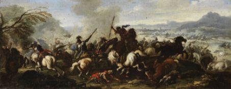 Pietro Graziani (Naples, active 18th Century ) A cavalry skirmish before an extensive landscape; ...