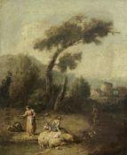 Francesco Zuccarelli (Pitigliano 1702-1788 Florence) An Italianate landscape with figures beside ...