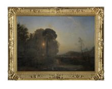 Francis Danby (Wexford 1793-1861 Exmouth) Landscape: Ulysses at the court of Alcinous, going to t...