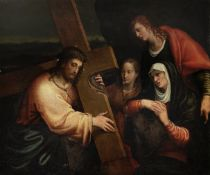 Veneto School, 16th Century Christ on the Road to Calvary with the Virgin Mary, Saints Mary Magda...