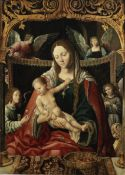 Netherlandish School, 16th Century The Madonna and Child enthroned flanked by angels unframed