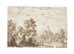 Remigio Cantagallina (Florence circa 1582-1656) A capriccio of a port with boats and figures (tog...